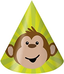 Creative Converting Monkeyin' Around Birthday Party Hats, Child Size, 8 Count from Creative Converting