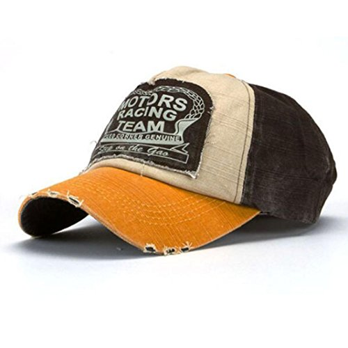 Coolbiz Embroidery Fake-Distressed New Unisex Baseball Cap Cotton Motorcycle Cap with Grinding Edge (Yellow+Coffee) (Red Sox Ice Cream Helmet compare prices)