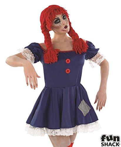 Costume da orribile bambola per Halloween da ragazza, travestimento con abito taglia L, veste 48-50