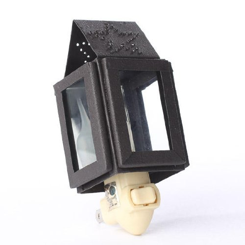 Perfectly Primitive Black Metal Nightlight Lamp With Hole Punched Star Accent