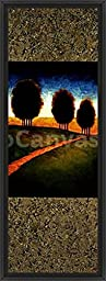 16in x 41in Lighted Path I by Gregory Williams - Black Floater Framed Canvas w/ BRUSHSTROKES