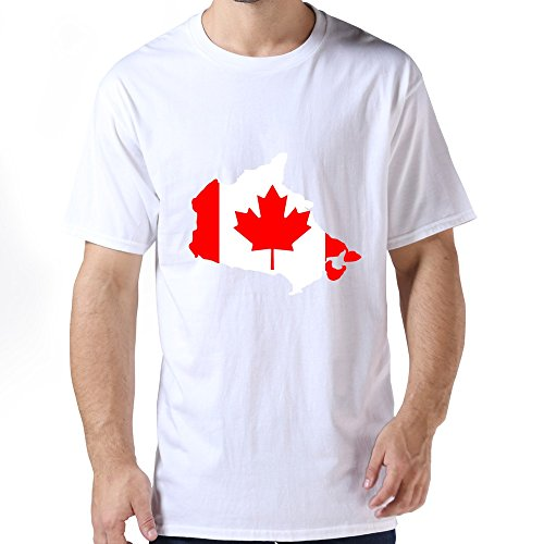 Linyang Men High Quality Canadian Map Maple Leaf Shirt Size L White