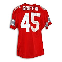 Autographed Hand Signed Archie Griffin Ohio State Buckeyes Red Throwback Jersey...