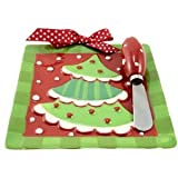 Christmas Holiday Winter Whimzy Cheese Plate with Spreader