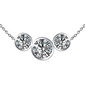 2 Carat G-H SI1 Round Trilion 3 Stone Diamond Bezel Solitaire Pendant Necklace With Chain 14K White Gold