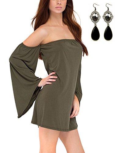 Sitengle Donna Bluse T-shirt a Maniche Lunga Sexy Senza Spalline Spalla di parola Maglia Lunga Camicia Camicetta Tops