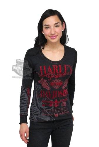 Harley-Davidson Womens Bad Moon Rising with Sparkle Flock Decoration Black Long Sleeve T-Shirt - MD