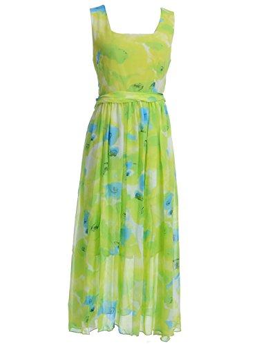 Anna-Kaci S/M Fit Green Tropical Floral Knife Pleat Waist Square Neckline Dress