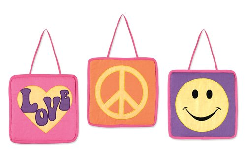 Groovy Pink Peace Sign Wall Hanging Accessories by Sweet Jojo Designs