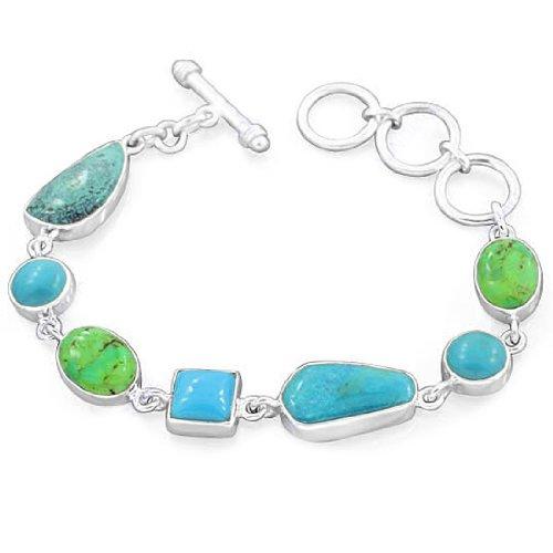 925 Sterling Silver Arizona Turquoise Mohave Turquoise Natural Gemstone Vintage Style Designer Link Bracelet 8