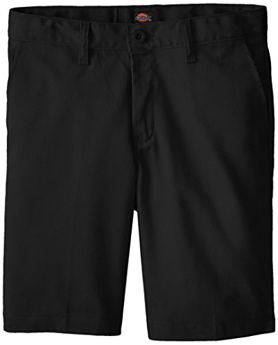 Dickies Khaki Big Boys' Flex Waist Stretch Flat Front Short, Black, 14 Husky