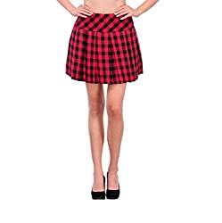 XOXO Red And Black Checkered A-Line Skirt For Women-X-Large