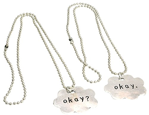 Ok? Ok Twin Black And White Cloud Friendship Fashion Necklace (Ok-Style C)