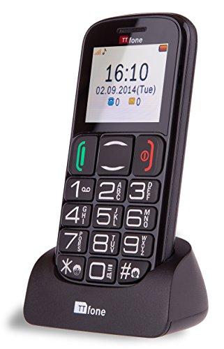 TTfone Mercury 2 - Téléphone Mobile principal de base de gros bouton - Simple Sim débloqué gratuit - Black avec station d'accueil