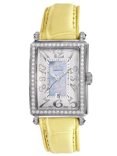 Gevril Women's 7247NV.9 Blue Mother-of-Pearl Genuine Alligator Strap Watch