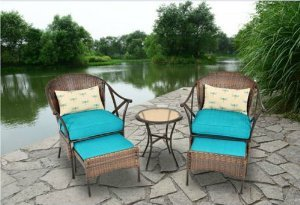 Outdoor Patio Furniture 5-piece All-Weather Wicker and Steel Leisure Bistro Set Cushioned Includes Ottomans image