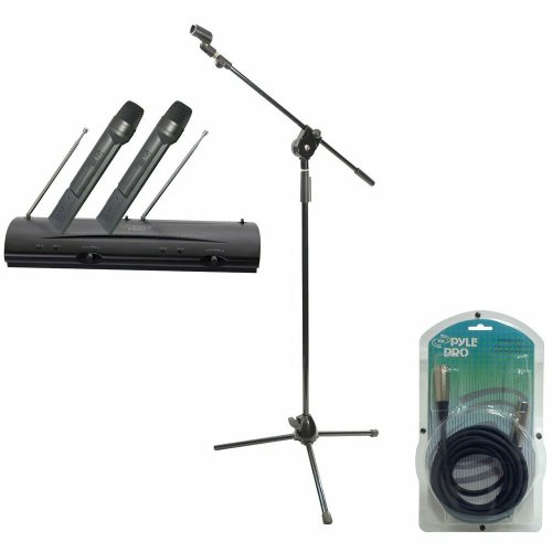 Pyle Mic And Stand Package - Pdwm2100 Professional Dual Vhf Wireless Handheld Microphone System - Pmks3 Tripod Microphone Stand W/ Extending Boom - Ppfmxlr15 15Ft. Xlr Male To Xlr Female Microphone Cable