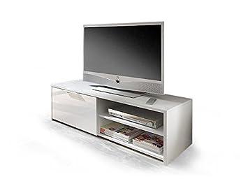 Porta tv moderno Elliot, mobile soggiorno portatv di design bianco lucido, L 122 cm