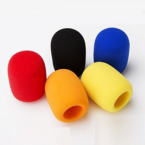 AUCH 5 Pack Reusable/Universal/Washable Foam Mic Cover Handheld Stage/KTV/DJ/Party Microphone Windscreen, Assorted Color(Orange/Yellow/Red/Blue/Black) (Condenser Microphone Orange compare prices)