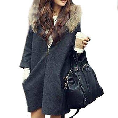 PU&PU Cappotto Da donna Vintage Manica lunga Poliestere , dark gray , one-size