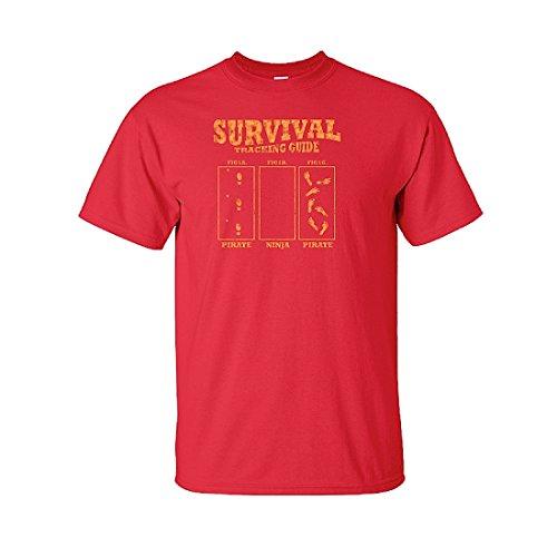 IamTee Survival Tracking Guide. Pirate, Ninja, Zombie Tshirt-Red-L