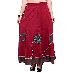 TUNTUK Women's Chhavi Skirt Maroon Cotton Skirt
