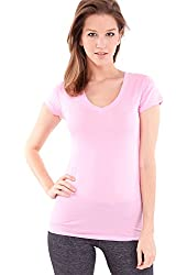 Ladies Plain Short Sleeve T-Shirt Round V-Neck Cotton Spandex, Multiple Colors