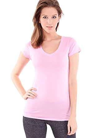 Woman Prism Pink Plain Short Sleeve T-Shirt Round V-Neck Cotton Spandex