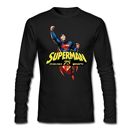 [Men's Superman Man Of Steel T-shirts Black Long-Sleeve] (Calvin And Hobbes Couple Costume)