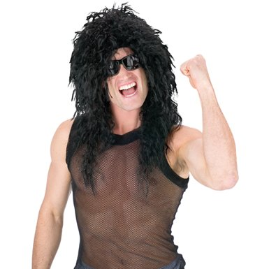 Black Rock Star Wig for Mens Halloween Costume