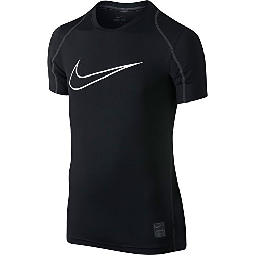 Nike Pro Cool HBR Fitted Boys' Short-Sleeve Top (Black/White, XS)