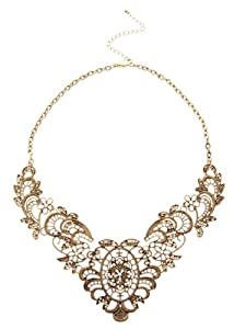 Buyinhouse Retro Vintage Antique Luxury Lady Lace Effect Filaments Pendant Short Style Necklace
