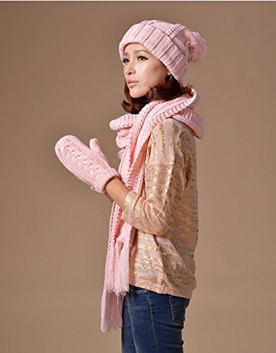 Winter fashion warm Faux Fur inserted velvet Hoodie Knitted Hat&Scarf Set Long Hat Cap with Mitten Scarfs Ears & Paw Print 3 in 1,best for Christmas present,pink by Update Everyday