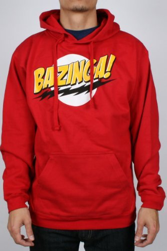 Old Glory Mens Big Bang Theory - Bazinga Hoodie - X-Large Red