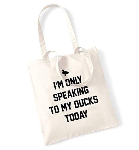 I'm only speaking to my duck today tote bag