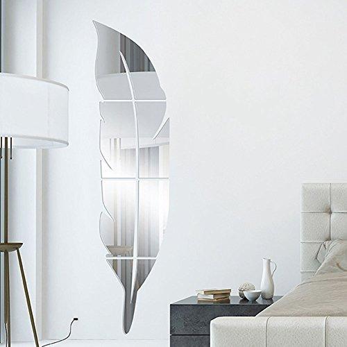 togather diy d de acrlico de la pluma del espejo de pared principal de la sala de bao decal murales de pared pegatina u plata