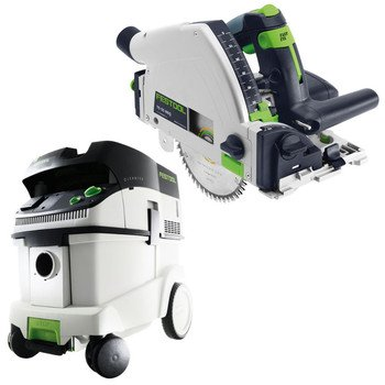 Festool P36561556 Ts 55 Req Plunge Cut Circular Saw With Ct 36 E 9.5 Gallon Hepa Mobile Dust Extractor front-526387