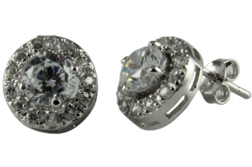 Sterling Silver Stud Earring with 1 Carat Cubic Zirconia