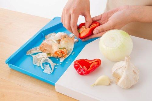 キッチン便利グッズ 抗菌まな板 『楽ラク4機能スグレまな板』 トレー付き、傾斜付き、マイクロバン抗菌使用、通常のまな板としての使用もOK ブルー/ホワイト34.7cm x 25.3cm x 2.9cm