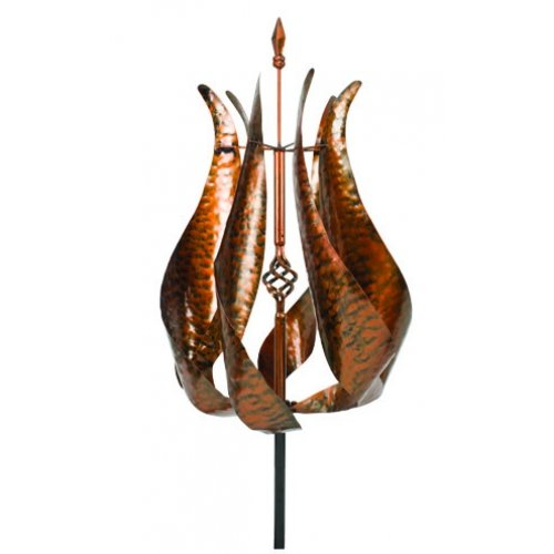 Extra Large Metal Wind Spinner Garden Stake, 74-inch, Copper Finish, Outdoor