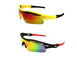 FashioNext Unisex Combo (Black-Yellow) Sports Wear Sunglasses (FNS0557)