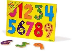 Vilac - 2424 - Jeux et Jouets en Bois - Encastrement chiffres (10 pièces)