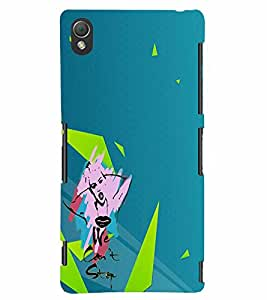 PrintVisa Cute Cartoon Girl 3D Hard Polycarbonate Designer Back Case Cover for Sony Xperia Z3