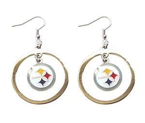 NFL Pittsburgh Steelers Floating Logo Hoop Earrings