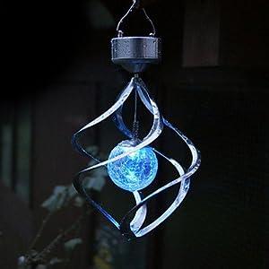 TOOGOO (R) SOLAR hilandero del viento ESPIRAL CON CAMBIO DE COLOR LED LUZ del ornamento del jardin