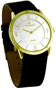 Mens Elegant and Stylish Swiss Made Quartz Analogue Watch by EverSwiss 2404-GLS. Gold tone Case, Silver Dial and Black Leather Strap