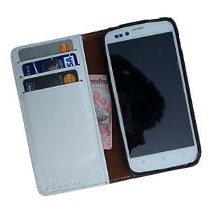 i-KitPit Genuine Leather Wallet Flip Case For Samsung Galaxy S2 (WHITE)