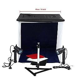 Andoer 40cm / 16 Photo Studio Square Light Tent Kit Folding Square Light Tent + 50W Halogen Lamps (EU Plug) + Rotatable Ball Head Copy Stand + 4 Colors Backdrops