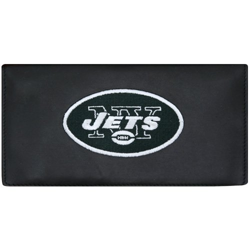 New York Jets Black Embroidered Leather Checkbook Cover
