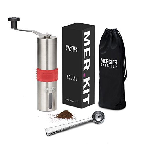 MERCIER Manual Coffee Grinder with Silicone Easy Grip - Adjustable Ceramic Burr - Aeropress Compatible - Includes carrying Pouch and Stainless Spoon